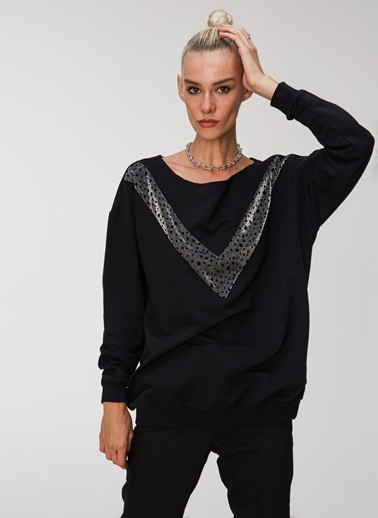 People By Fabrika Sim Garnili Sweatshirt Siyah